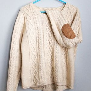 Cable knit sweater with elbow patches